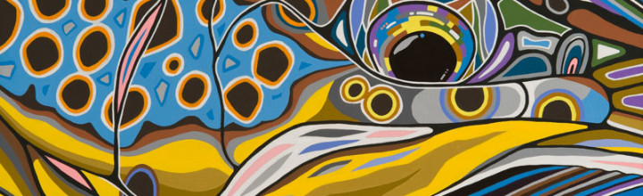 NEW BROWN TROUT PAINTING ADDED TO GALLERY- BROWN ON BLUE